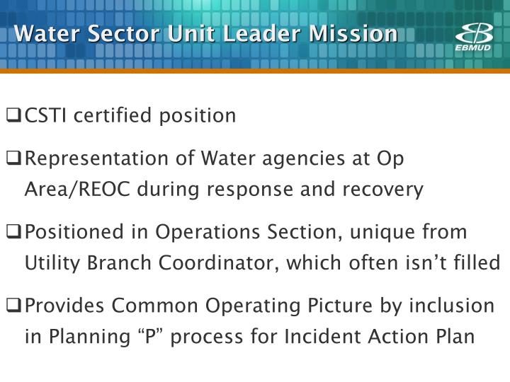Water Sector Unit Leader Mission