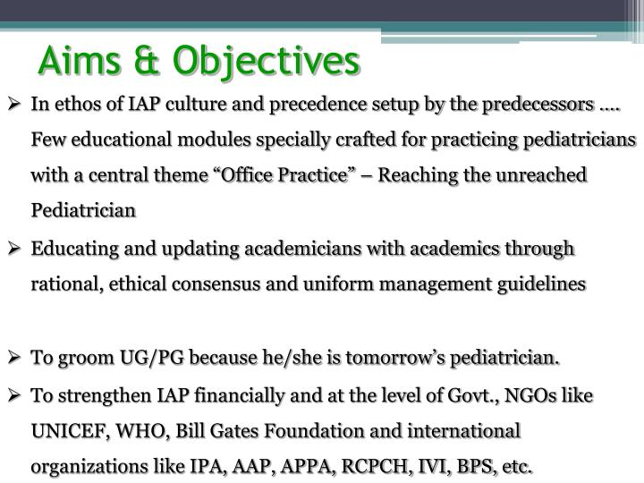 In ethos of IAP culture and precedence setup by the predecessors …. Few educational modules specia...