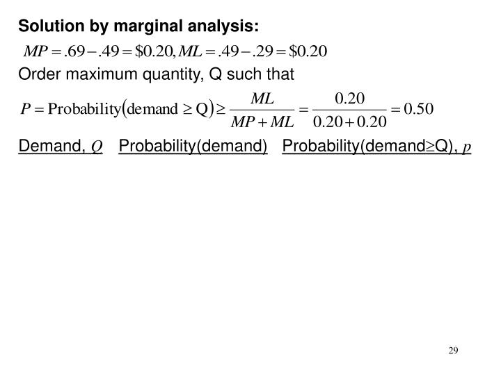 Solution by marginal analysis: