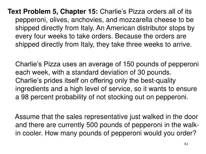 Text Problem 5, Chapter 15: