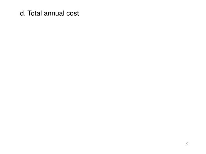 d. Total annual cost