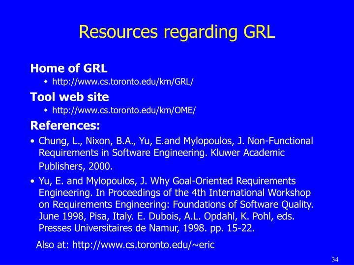 Resources regarding GRL