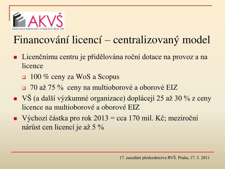 Financování licencí – centralizovaný model
