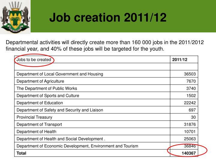 Job creation 2011/12