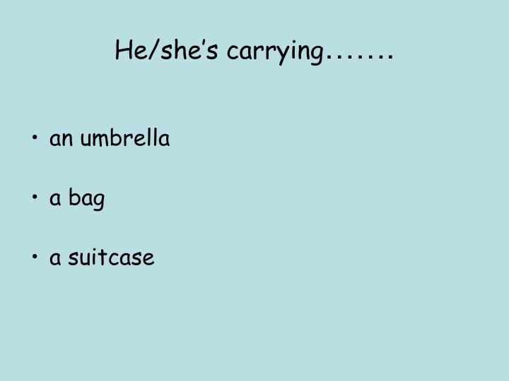 He/she's carrying