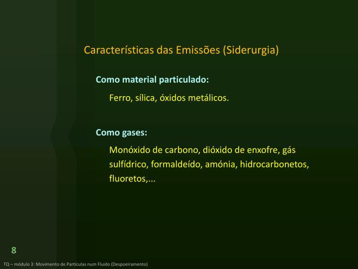 Características das Emissões (Siderurgia)