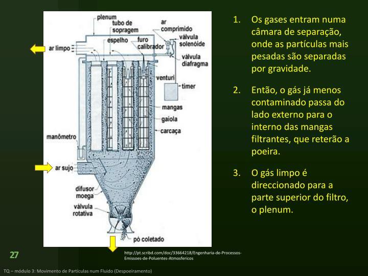 Os gases entram numa câmara de separação, onde as partículas mais pesadas são separadas por gravidade.