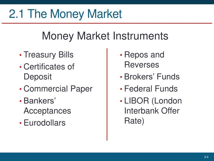 2 1 the money market