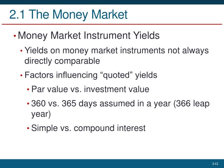 2.1 The Money Market