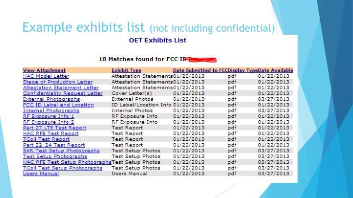 Example exhibits list