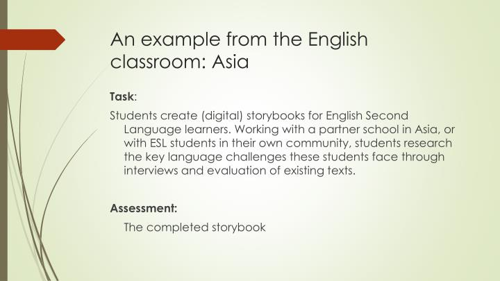 An example from the English classroom: Asia