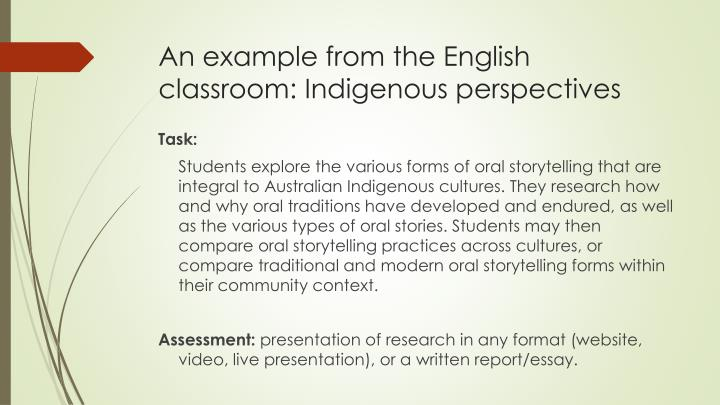 An example from the English classroom: Indigenous perspectives
