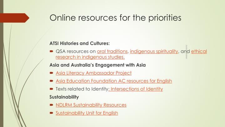 Online resources for the priorities