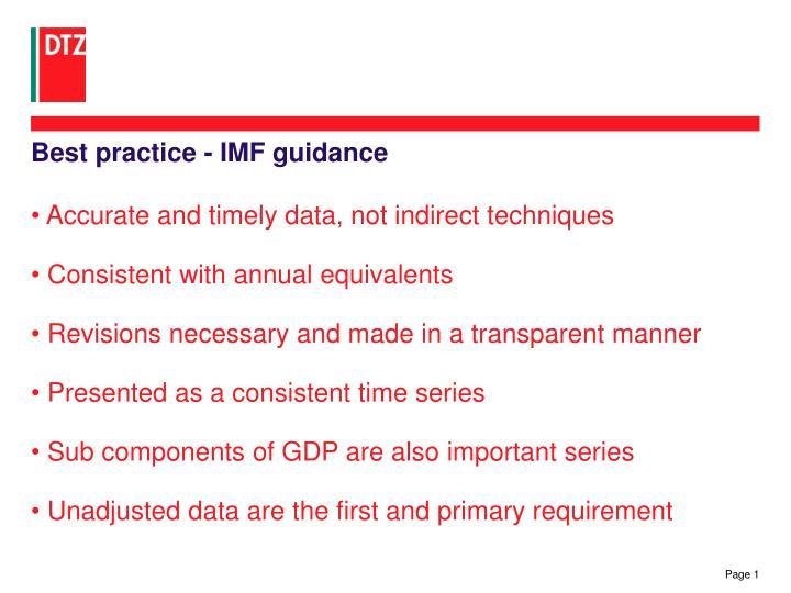 Best practice imf guidance