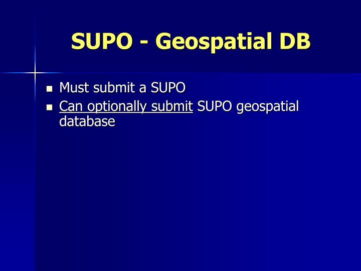 SUPO - Geospatial DB