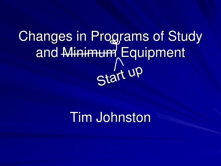 Changes in Programs of Study