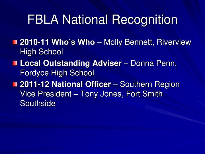 FBLA National Recognition