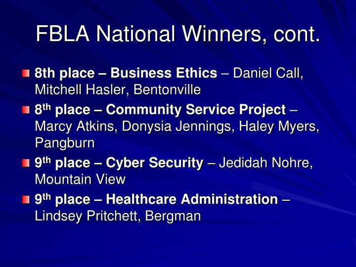 FBLA National Winners, cont.