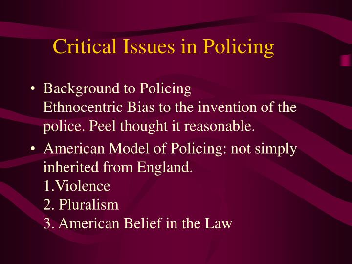 critical issues in policing n.