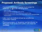 proposed antibody screenings