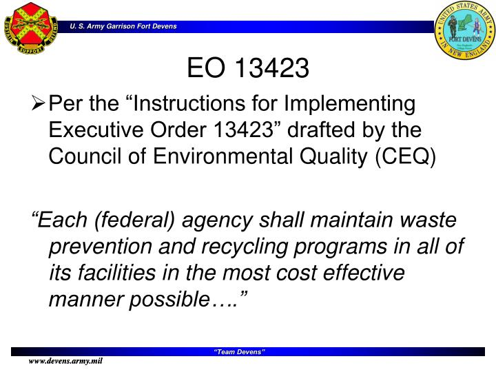"""Per the """"Instructions for Implementing Executive Order 13423"""" drafted by the Council of Environmental Quality (CEQ)"""