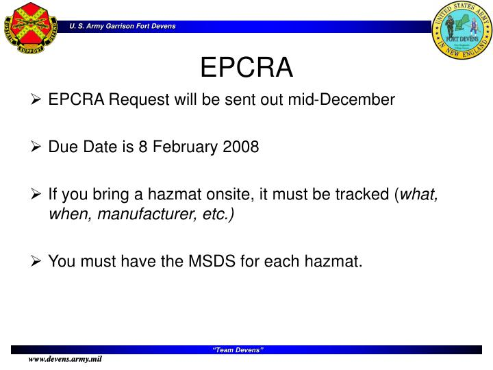 EPCRA Request will be sent out mid-December