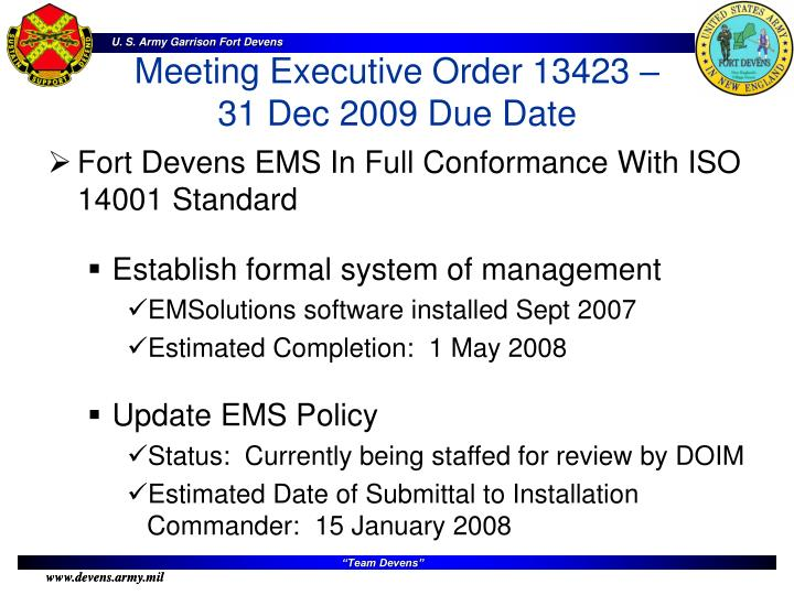 Fort Devens EMS In Full Conformance With ISO 14001 Standard