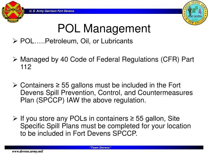 POL…..Petroleum, Oil, or Lubricants