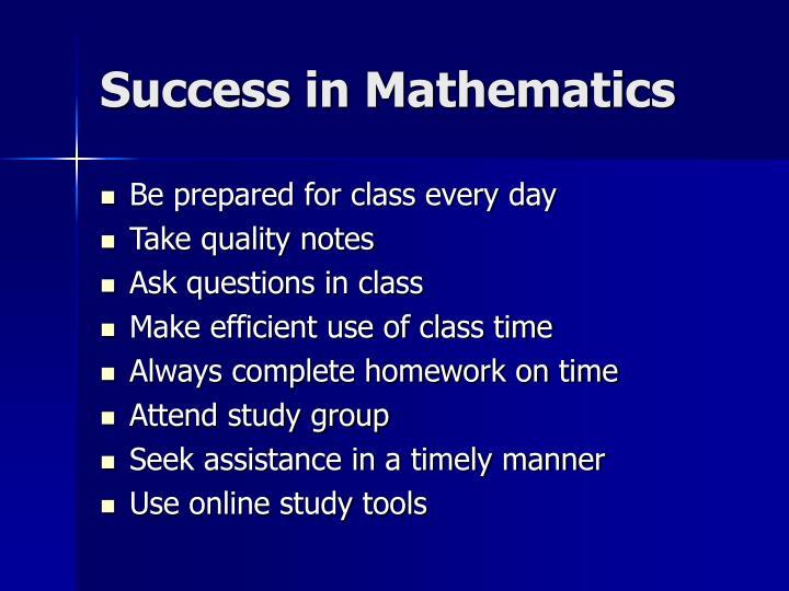 Success in Mathematics