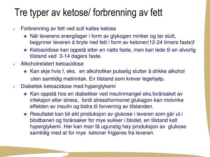 Tre typer av ketose/ forbrenning av fett