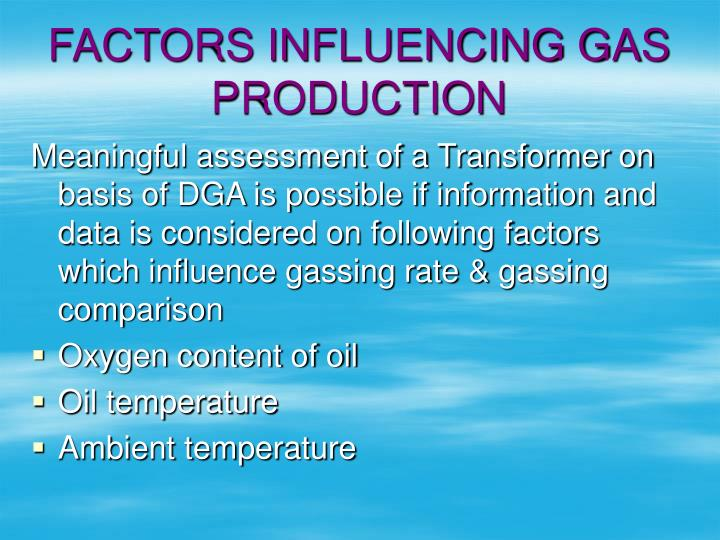 FACTORS INFLUENCING GAS PRODUCTION