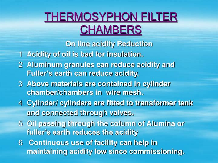THERMOSYPHON FILTER CHAMBERS