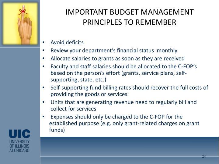 IMPORTANT BUDGET MANAGEMENT