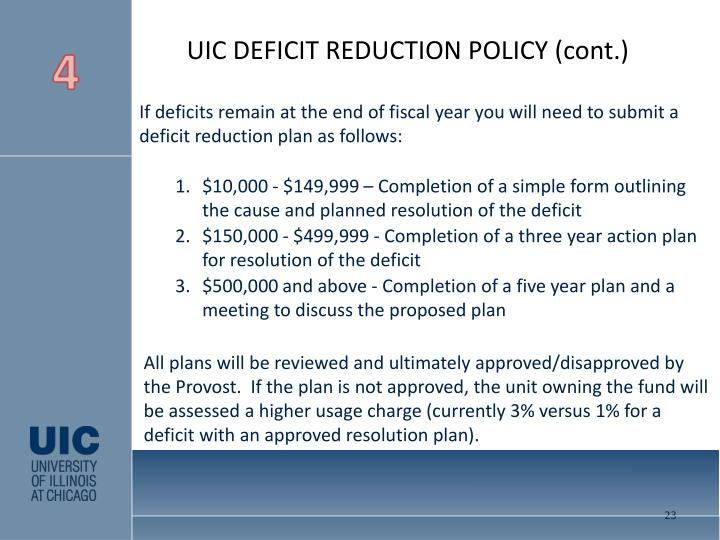 UIC DEFICIT REDUCTION POLICY (cont.)