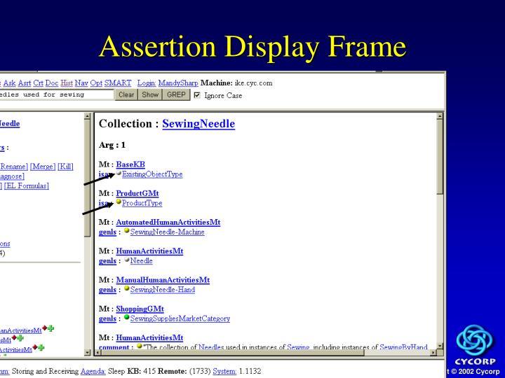 Assertion Display Frame