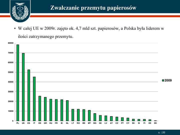 W całej UE w 2009r. zajęto ok. 4,7 mld szt. papierosów, a Polska była liderem w ilości zatrzymanego przemytu.
