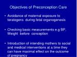 objectives of preconception care