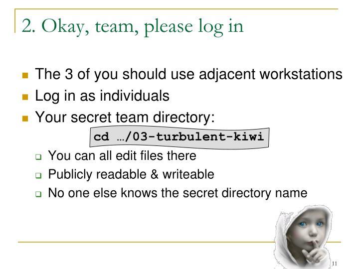 2. Okay, team, please log in