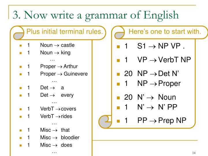 3. Now write a grammar of English