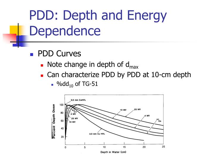 PDD: Depth and Energy Dependence