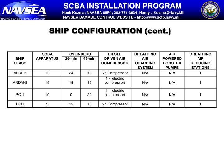 SHIP CONFIGURATION (cont.)