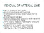 removal of arterial line