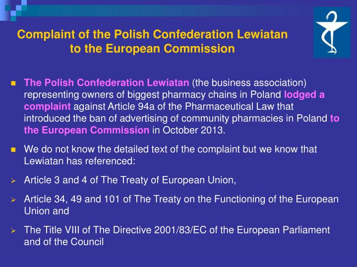 Complaint of the Polish Confederation Lewiatan