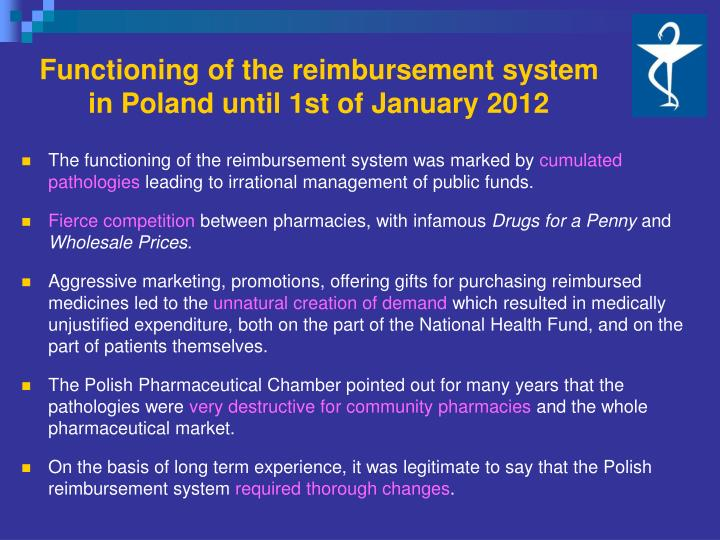 Functioning of the reimbursement system
