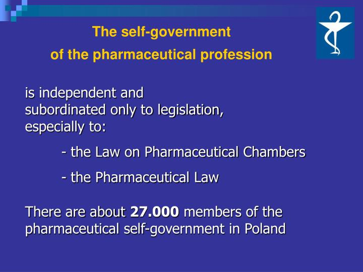 The self government of the pharmaceutical profession