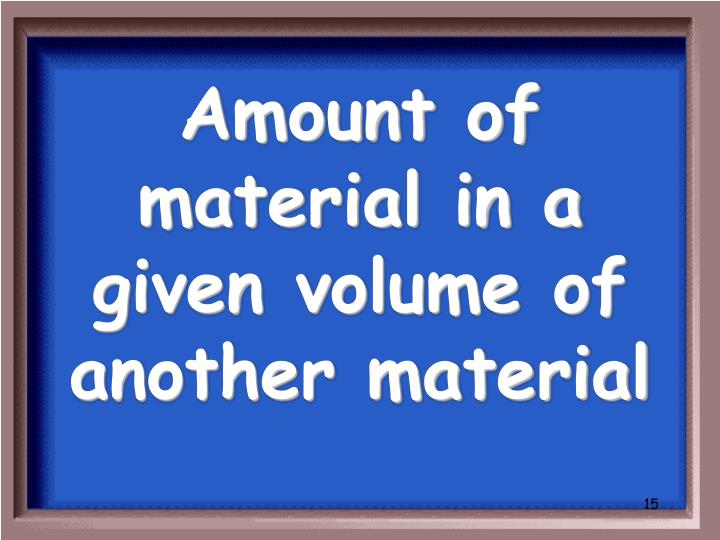 Amount of material in a given volume of another material