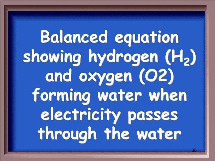 Balanced equation showing hydrogen (H