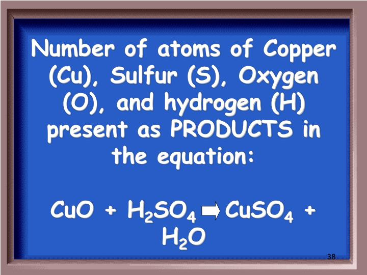 Number of atoms of Copper (Cu), Sulfur (S), Oxygen (O), and hydrogen (H) present as PRODUCTS in the equation: