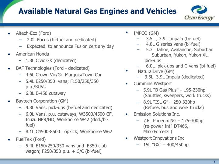 Available Natural Gas Engines and Vehicles