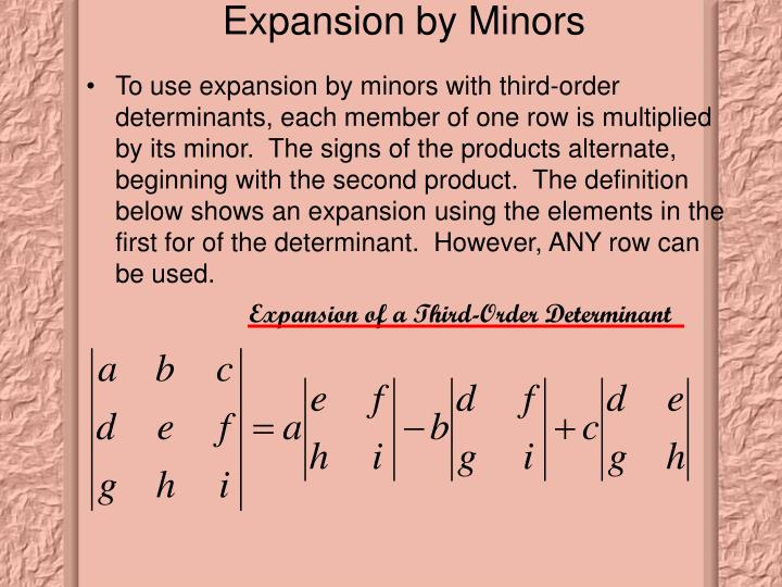 Expansion by Minors